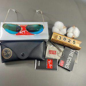 NWT RB3025 Golden Frame Aviators Sunglasses 58MM